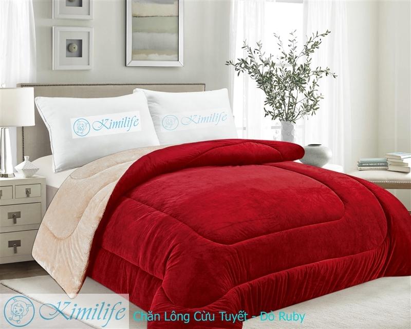 Chăn Lông Cừu Tuyết KimiLite Đỏ Ruby